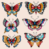 School tattoo art butterflies — Stock Vector