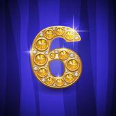 jewelry number 6 — Stock Vector