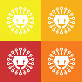 Lion head abstract isolated on a colorful backgrounds, vector — Stock Vector