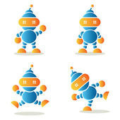 Set of dancing robots, vector illustration — Vetorial Stock