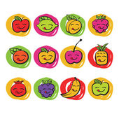 Funny colorful fruits, vector icons — Stock Vector