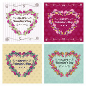 Happy valentines day cards with floral ornament, heart, ribbon,  — Stock Vector