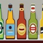 Постер, плакат: A row of beer bottles with caps on a shelf SET 2 Modern flat design