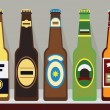 Постер, плакат: A row of bottles of beer with caps on a shelf Set 1 Modern flat design