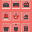 Unique women purse and bag square icons set in red — Stock Vector #51023833