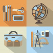 School stuff icons set with long shadow- Modern background colors in flat design — Stock Vector #51023873