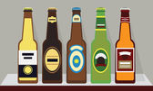 A row of bottles of beer with caps on a shelf, Set 1 - Modern flat design — Stock Vector