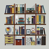 Wooden bookshelf with books and decoration objects — Stock Vector
