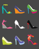 Unique colorful women shoe icons set - Flat design — Stock Vector