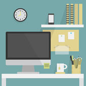 Close up of simple flat, modern, and stylish working place — Stock Vector