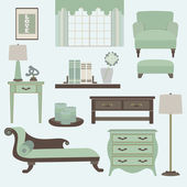 Living room furniture and accessories in light teal — Stock Vector