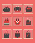 Unique women purse and bag square icons set in red — Vector de stock