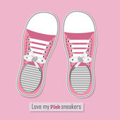 A pair of pink sneakers with shoelaces on pink background — Stock Vector