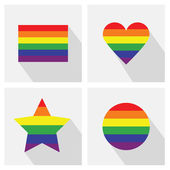 Pride flag stripe color icons in different shapes and long shadows — Stock Vector