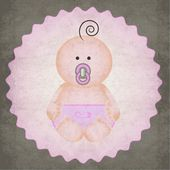 Cute little baby girl icon badge with pink diaper and pacifier on textured gray background — Stock Vector