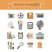School icons set - Modern colorful flat design on white background — Stock Vector