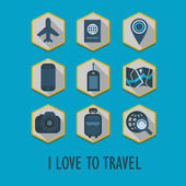 Hexagon travel icons set with long shadow - I Love To Travel — Stock Vector