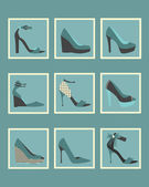 Unique blue women shoes square icons set — Stock vektor