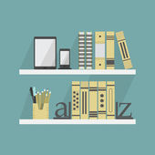 Close up of shelves with some books and accessories - Flat design — Stock Vector