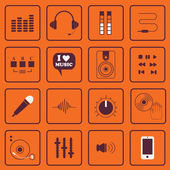 DJ, sound, and music flat icons set — Vector de stock