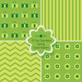Set of 4 cute spring green seamless patterns — ストックベクタ