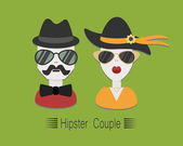Hipster couple with sunglasses and hats on green background — Stock Vector