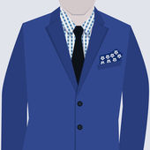 Male fashionable blue suit with checkered shirt and tie close up — Stock Vector
