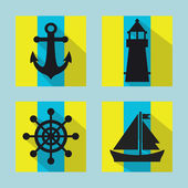 Naval icons set with long shadow - flat design — Stock Vector