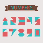 Flat geometric numbers with shapes — Stock Vector