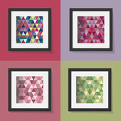 4 colorful and framed seamless triangle patterns - modern geometric abstract texture design — Stock Vector