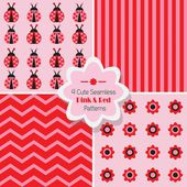 Set of 4 cute Pink & Red seamless patterns — Stock Vector