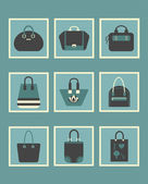 Unique blue women purse square icons set — Stock Vector