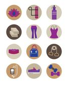 Flat female Yoga essentials icons — Stock Vector
