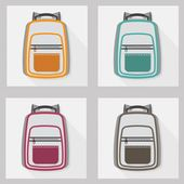 Set of backpacks with long shadow — 图库矢量图片