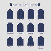 Set of common types of architectural arches silhouette icons — Stock Vector