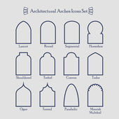 Set of common types of architectural arches frame icons — Stock Vector