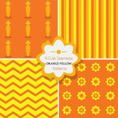 Set of 4 cute seamless orange and yellow seamless patterns — Stock Vector