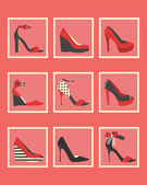 Unique pink and red women shoes square icons set — Stock Vector