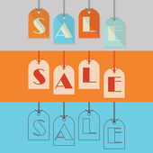 Abstract SALE hanging tags in different styles — Stock Vector