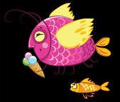 Cartoon fishes characters, icecream gourmand — Stock Vector