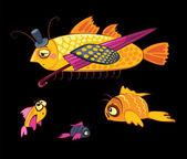 Cartoon characters, dandy fish with umbrella — Stock Vector
