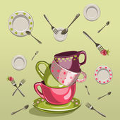 Cups with saucers, forks and spoons — Stock Vector