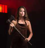 Maniac woman with ax — Stock Photo