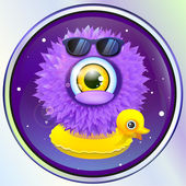 Wooly alien monster with duck in space. — Stock Vector