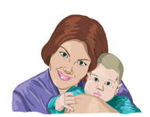 Mother embraces the son — Stock Vector