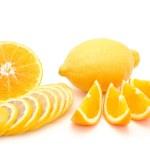 Mandarin, orange and red grapefruit sliced isolated on a white background — Stock Photo #50586559
