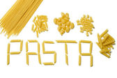Pasta letters with various types of pasta in piles above, isolated — Стоковое фото
