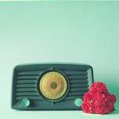 Retro Radio with flowers — Stock Photo