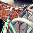 Vintage Bicycle with basket — Stock Photo #50552019