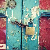 Old door with lock — Stock Photo